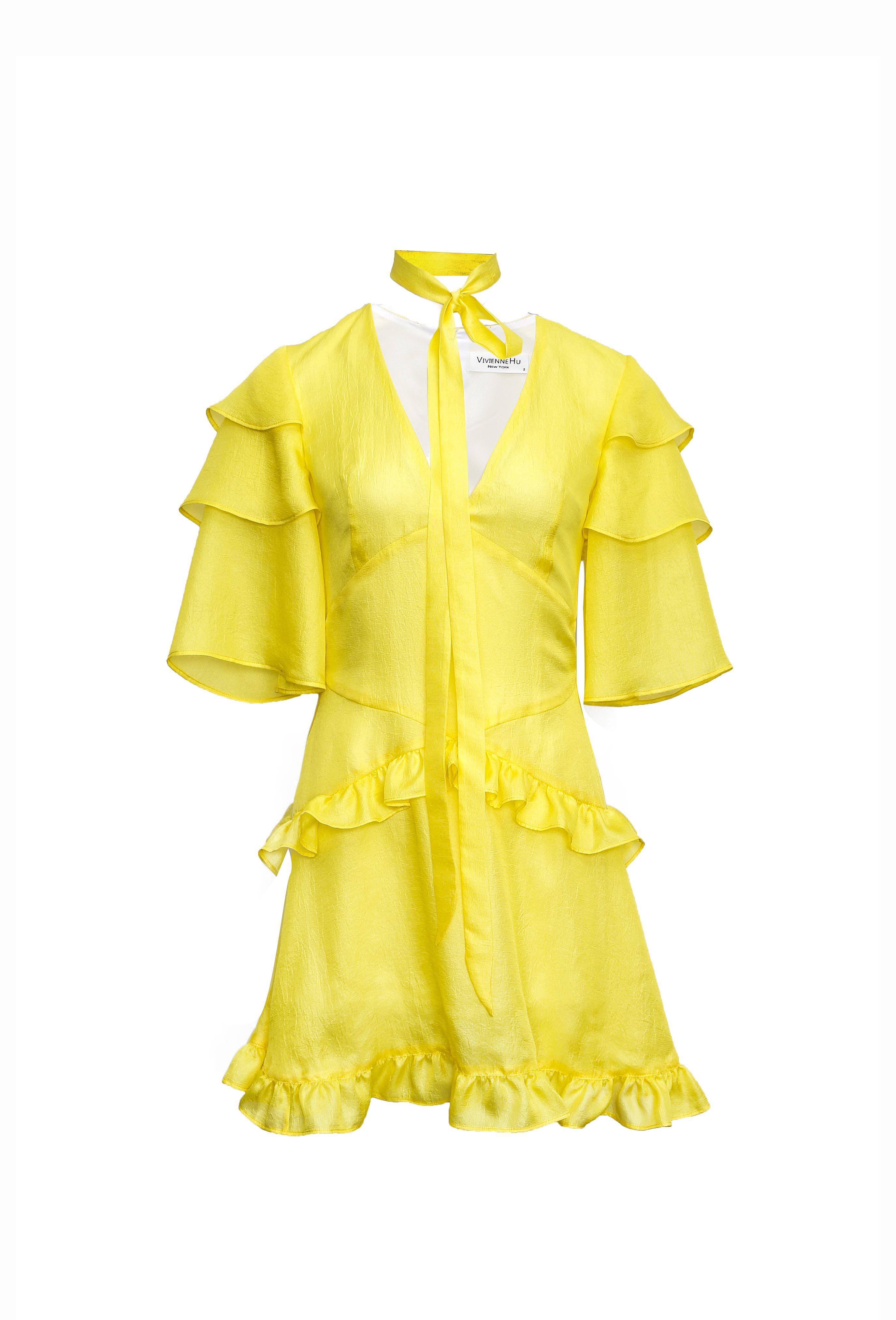 Yellow Chiffon Ruffle Dress
